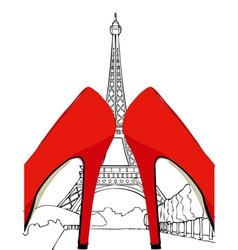 Fashion under the Eiffel Tower Paris vector