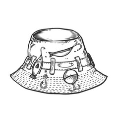 Fisherman hat engraving vector