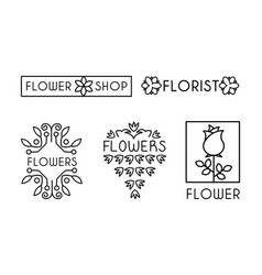 flower shop logo set design elements can be used vector image