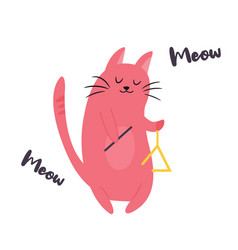 funny cat playing triangle vector image