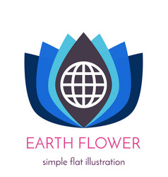 geometric flower with globe icon vector image