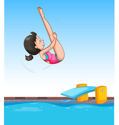 Girl diving into pool vector