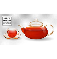 glass teapot and cup with tea isolated on vector image