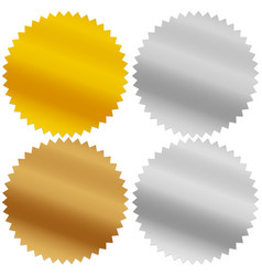 Gold silver bronze and platinum seals awards vector