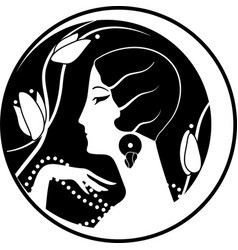 Graphic silhouette of a art deco woman vector