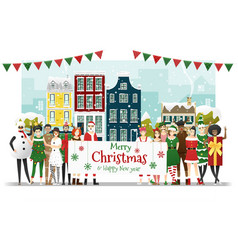 group teens in christmas costume vector image