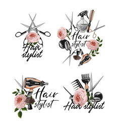 Hairdresser tools stickers such as hairdryer vector