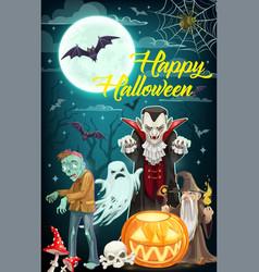Halloween ghost dracula vampire zombie and bats vector