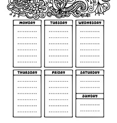 hand drawing black and white weekly planner vector image