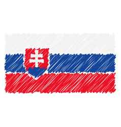 hand drawn national flag of slovakia isolated on a vector image