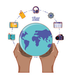 Hand with globe world and social media set icons vector