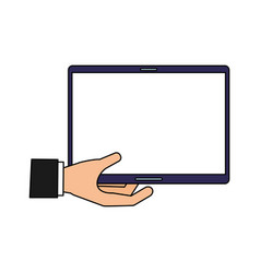 hand with tablet computer device vector image