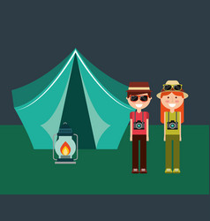 Happy couple with camera hat and tent camping lamp vector