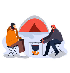hikers sitting near tent and campfire with cooking vector image