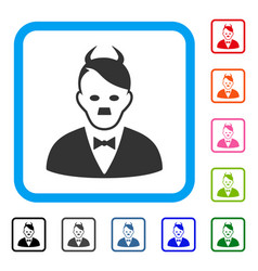 Hitler devil framed icon vector