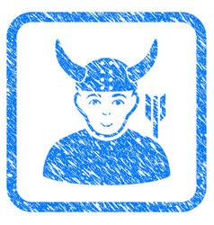 horned warrior framed stamp vector image