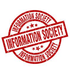 information society round red grunge stamp vector image