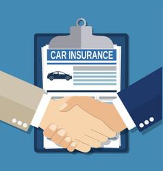 Insurance concept handshake vector