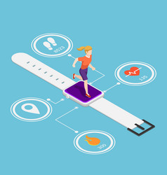 isometric woman running on smartwatch vector image