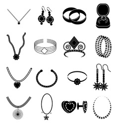 Jewellery icons set vector