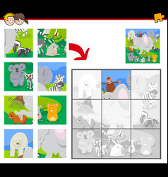 jigsaw puzzles with cartoon animals group vector image