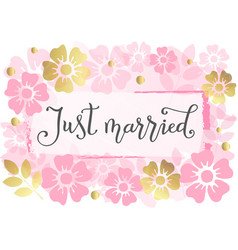 just married in dark grey with pink flowers vector image