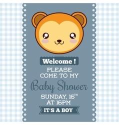 Kawaii monkey Baby Shower design graphic vector