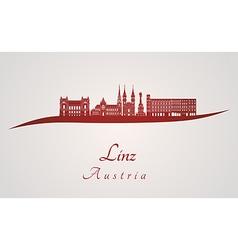 Linz skyline in red vector image