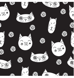 Lovely cats seamless pattern black vector