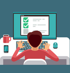 Man at computer filling online questionnaire form vector