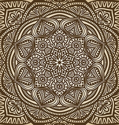 mandala ornament brown circular pattern background vector image