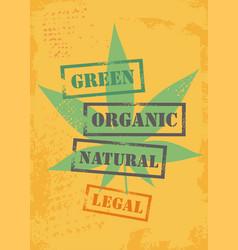 marijuana leaf on yellow gr vector image