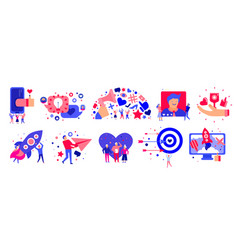 marketing icons set vector image