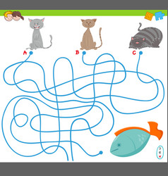 Maze game with cartoon cats and fish vector