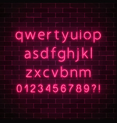 Neon style font glowing red neon alphabet with vector