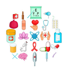 nursing care icons set cartoon style vector image