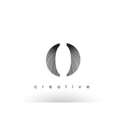 O logo design with multiple lines and black and vector