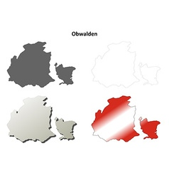 Obwalden blank detailed outline map set vector