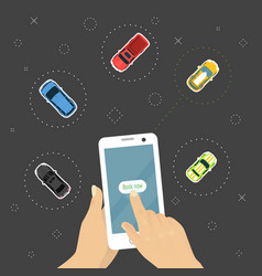 ordering car online concept hand holding vector image