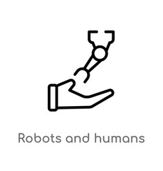 Outline robots and humans icon isolated black vector