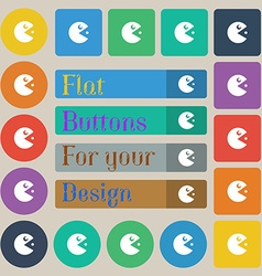 Pac man icon sign Set of twenty colored flat round vector