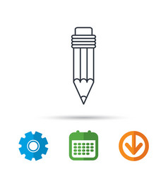 pencil icon drawing tool sign vector image