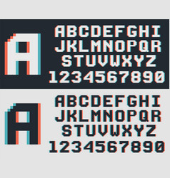 Pixel video game font retro 8-bit letters and vector