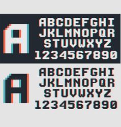 pixel video game font retro 8-bit letters vector image