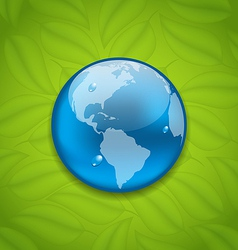 Planet Earth on green leaves texture vector image