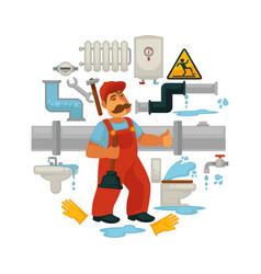 Plumbing service flat poster of plumber vector