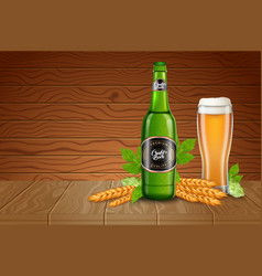 poster ads template with realistic tall beer glass vector image