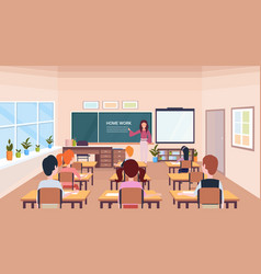 Pupils looking at woman teacher writing home work vector