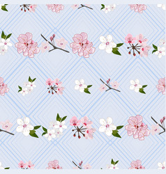 Repeat pattern with sakura flowers vector