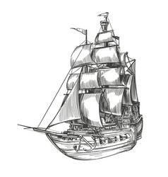retro old ship vintage hand drawn vector image